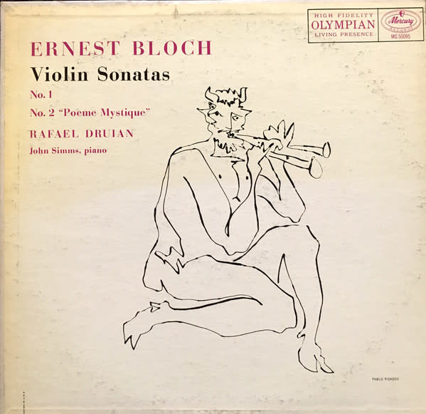 Classical Ernest Bloch - Violin Sonatas Nos. 1 and 2 - Druian / Simms (VG+)