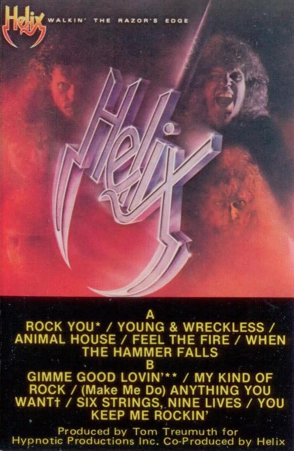 Rock/Pop Helix - Walkin' The Razor's Edge (ink wearing off on cassette)
