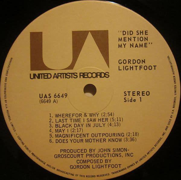 Rock/Pop Gordon Lightfoot - Did She Mention My Name? (CA 70s press) (VG+)
