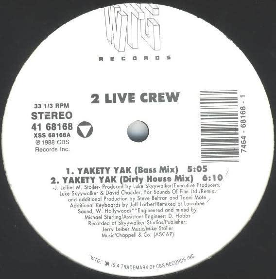 "Hip Hop/Rap 2 Live Crew - Yakety Yak 12"" (VG+)"