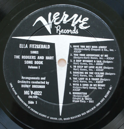 Jazz Ella Fitzgerald - Sings The Rodgers And Hart Song Book (1959 CA) (VG+, stains on back cover, minor top seam splitting, otherwise sleeve like new)