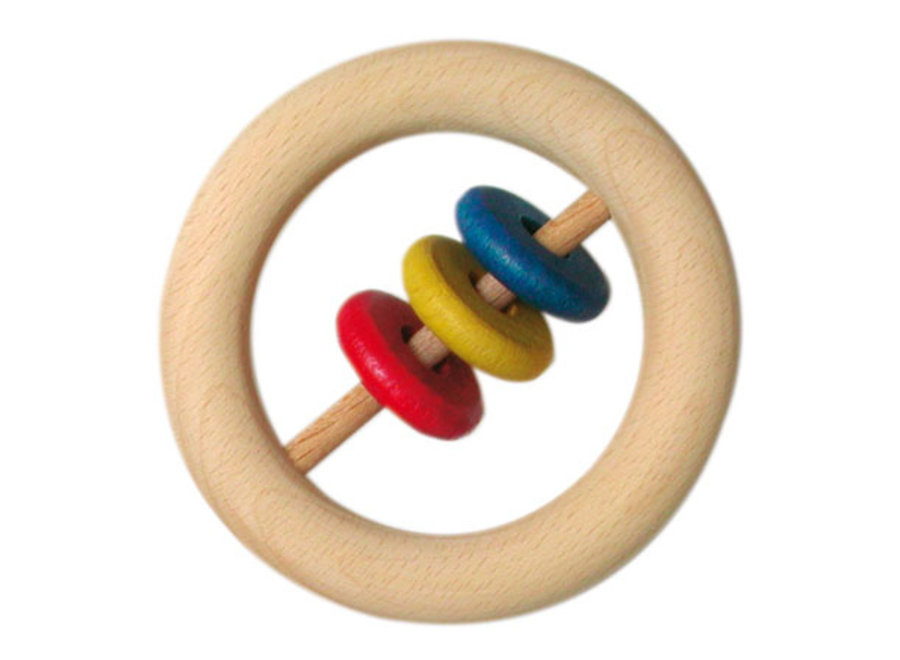 Wooden Rattle with 3 slices, large