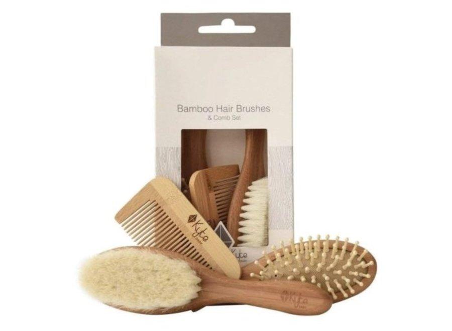Bamboo hair brush set of 3