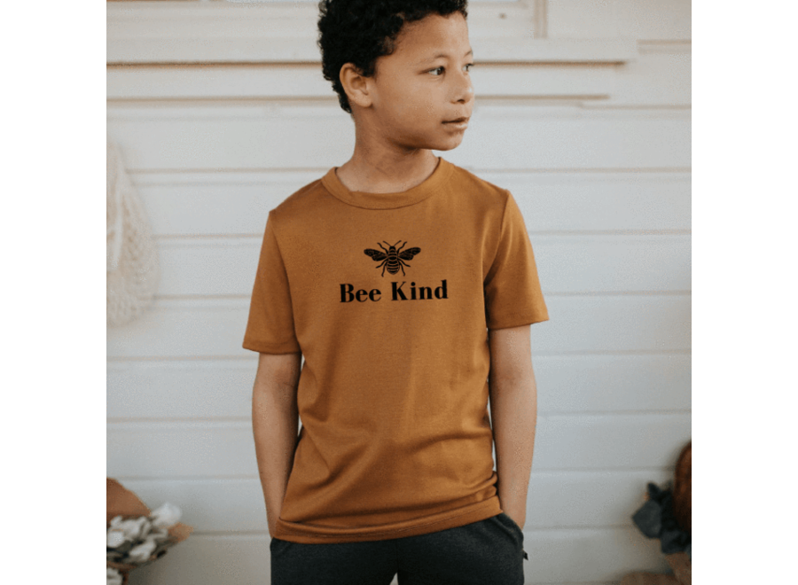 Youth t-shirt 'bee kind' - Dark mustard