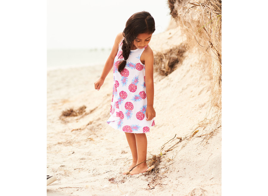 Party pineapples trapeze dress