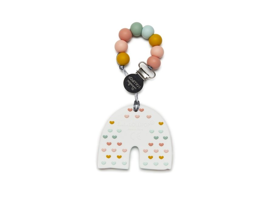 Pastel rainbow silicone teether set