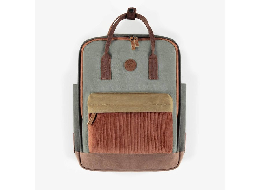 Block colour green backpack