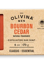 Olivina Men Exfoliating Bar Soap-Bourbon Cedar