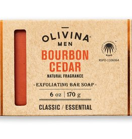Olivina Men Exfoliating Bar Soap-Bourbon Cedar