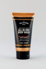Olivina Men All-In-One Body Wash-Bourbon Cedar 2.5oz