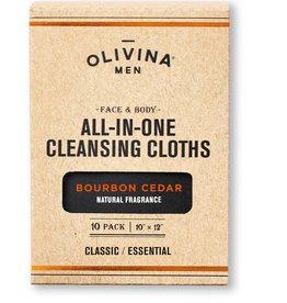 Olivina Men Cleansing Cloths-Bourbon Cedar