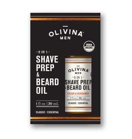 Olivina Men Shave Prep & Beard Oil-Cedar & Bergamot
