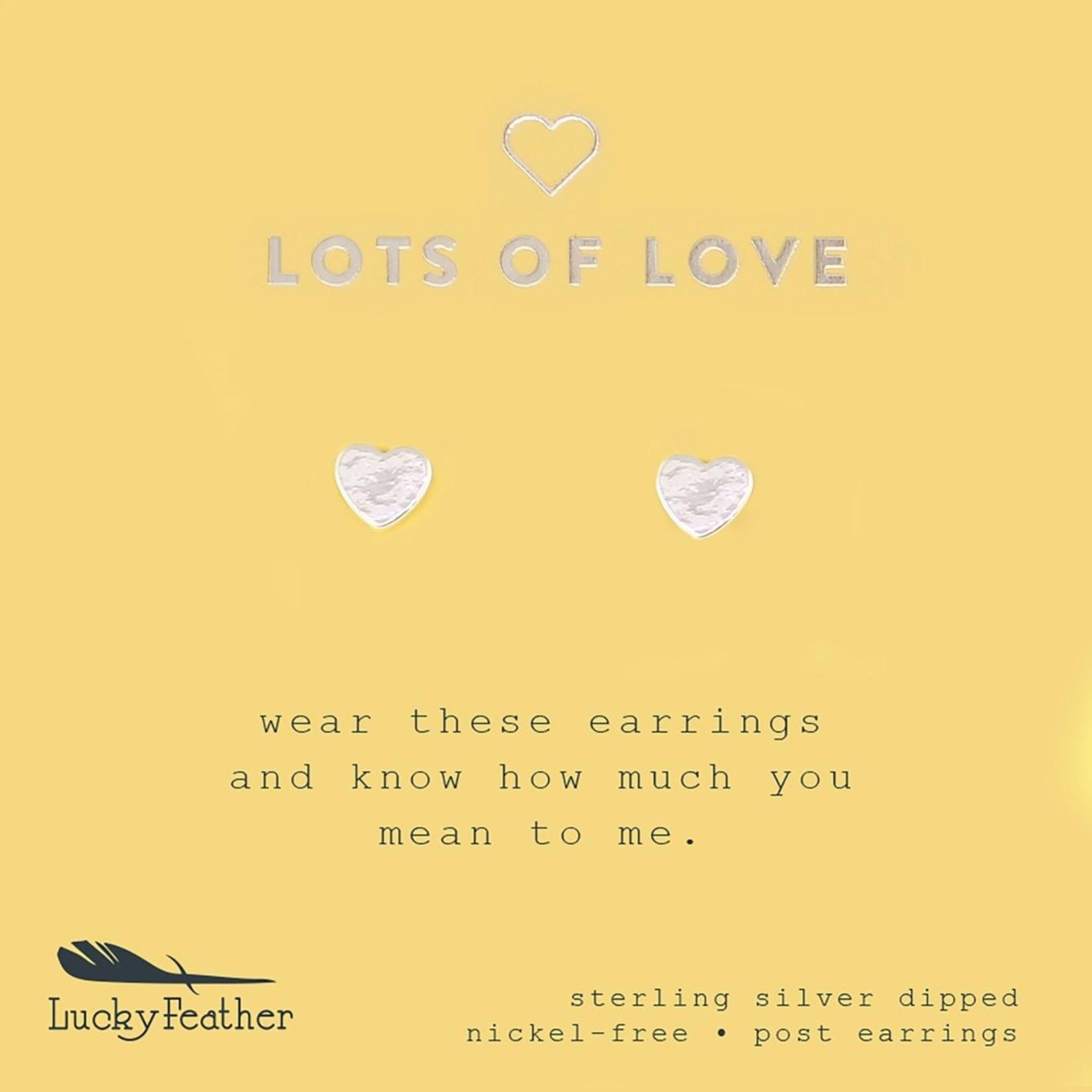 Lucky Feather Heart Silver Earrings