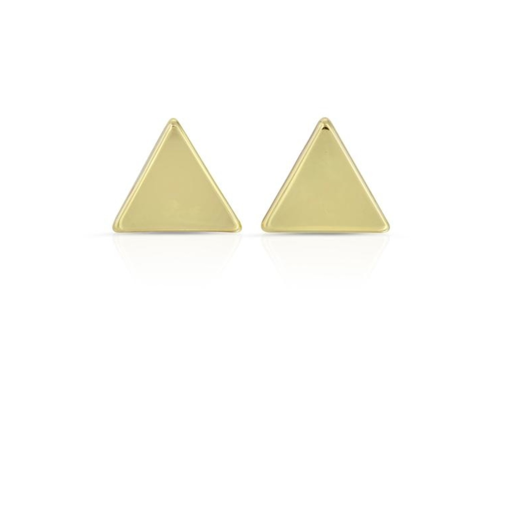 Lucky Feather Balanced Triangle Gold Earrings