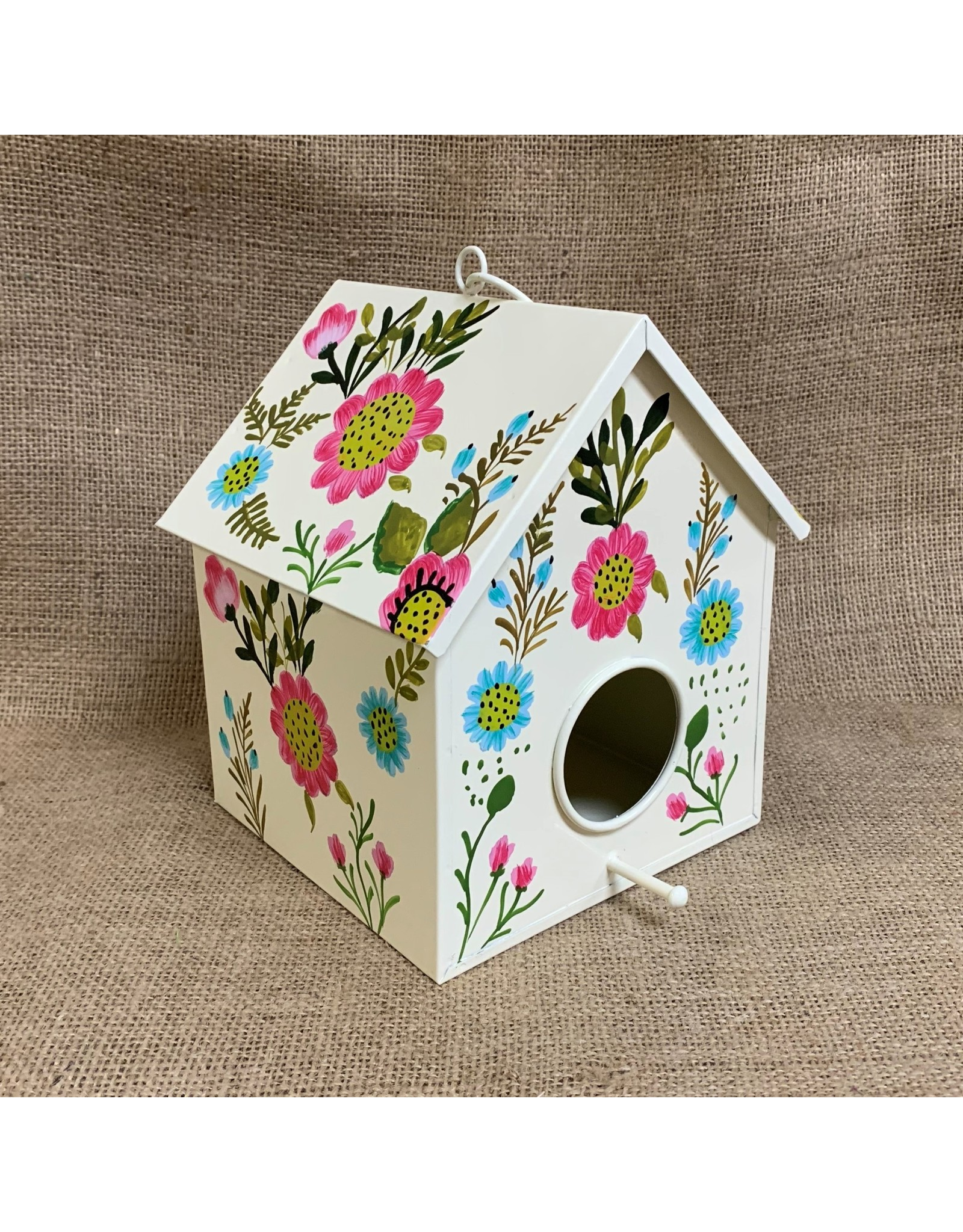 Ten Thousand Villages Metal Birdhouse White with Bright Floral