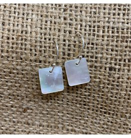 Ten Thousand Villages Mother of Pearl Rectangle Earrings w/ Sterling Silver