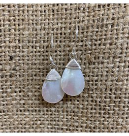 Ten Thousand Villages Mother of Pearl Teardrop Earrings w/ Sterling silver