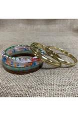 Ten Thousand Villages Bracelet Set of 5 Gold/Multicolour