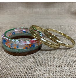 Ten Thousand Villages Bracelet Set of 5 Gold/Multicolour