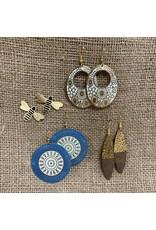 Ten Thousand Villages Oval Hammered Brass Dangle Earrings