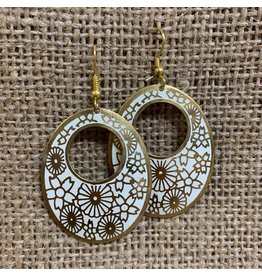 Ten Thousand Villages Floral Embossed Earrings, India