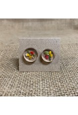 Ten Thousand Villages Round Earrings with Dried Flowers