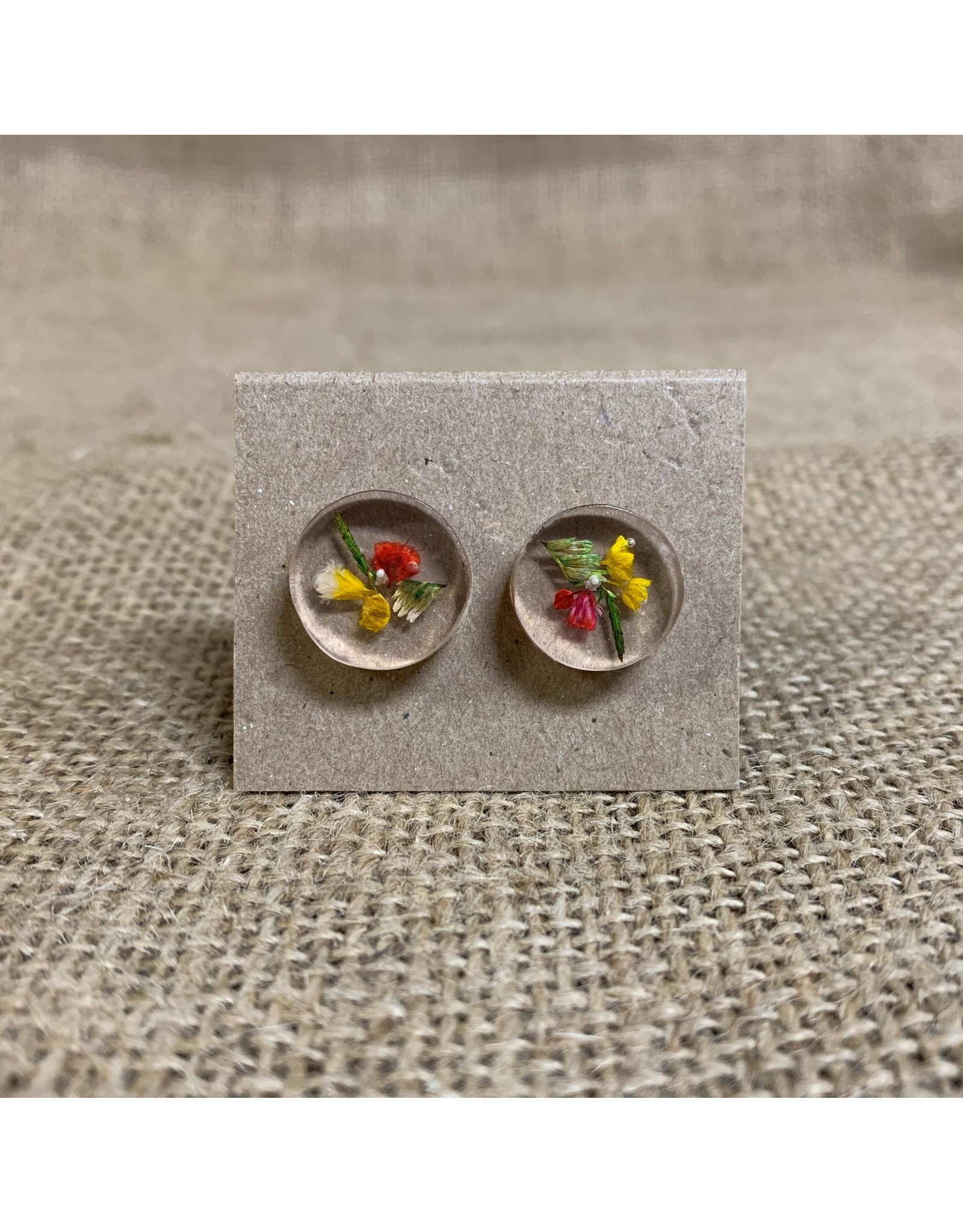 Ten Thousand Villages Round Earrings with Dried Flowers, Colombia