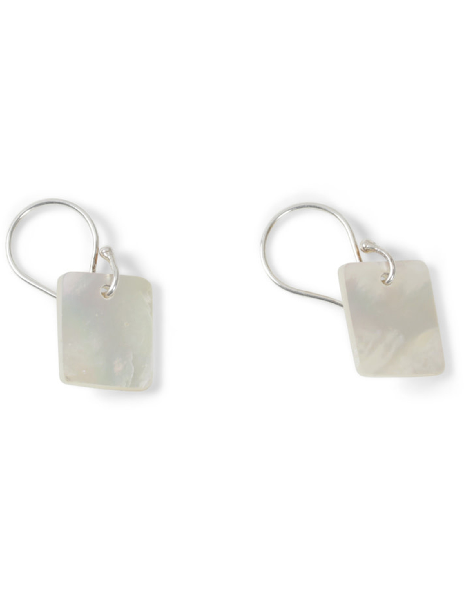 Ten Thousand Villages Mother of Pearl Rectangle Earrings w/ Sterling Silver, Indonesia