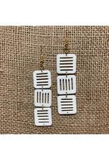 Ten Thousand Villages Jali Trio Bone Earrings