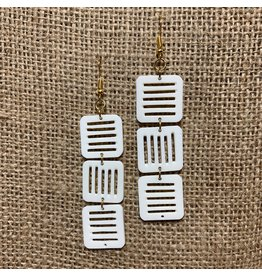 Ten Thousand Villages Jali Trio Bone Earrings
