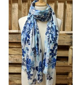 Ten Thousand Villages Blue Floral Scarf