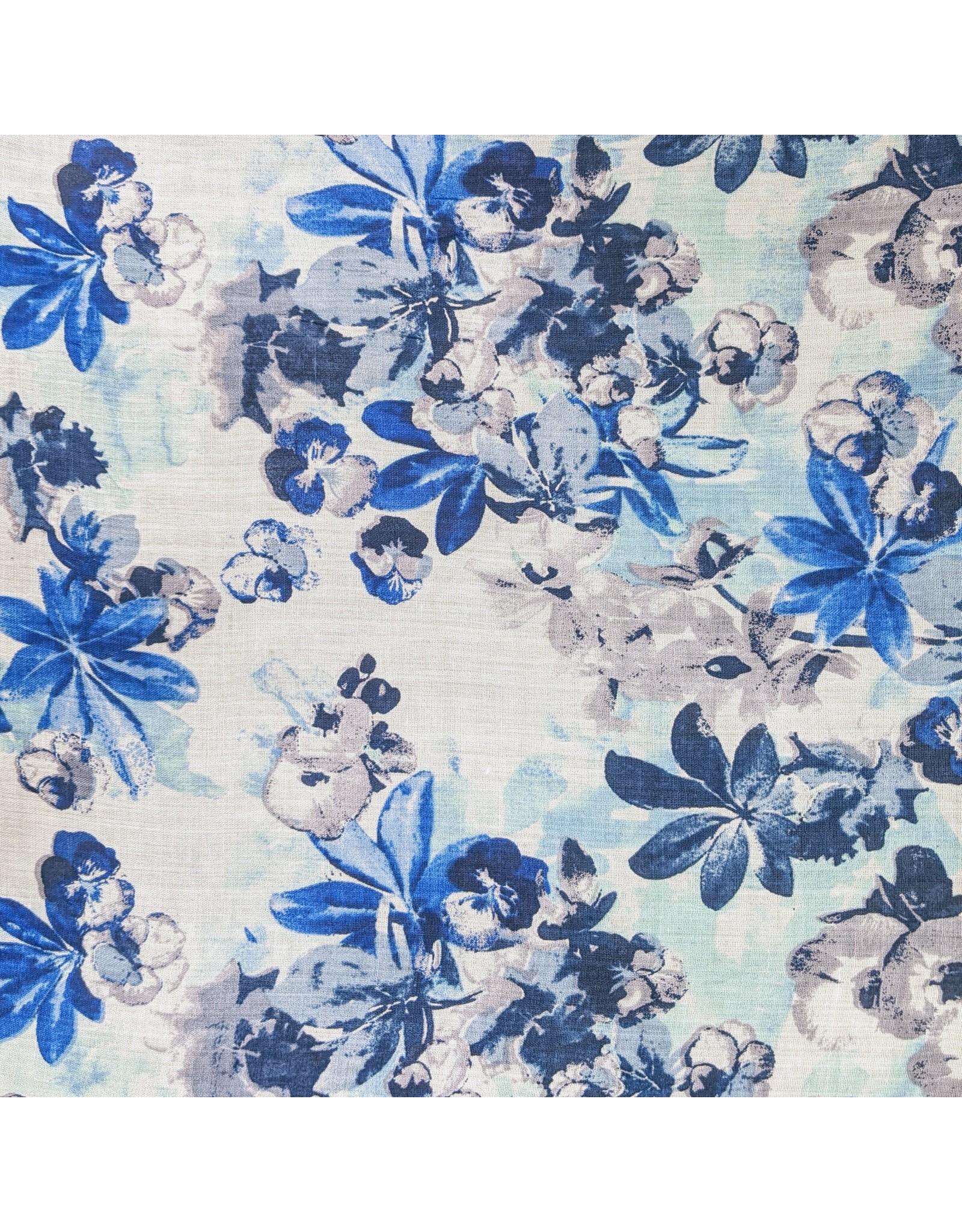 Ten Thousand Villages Blue Floral Scarf