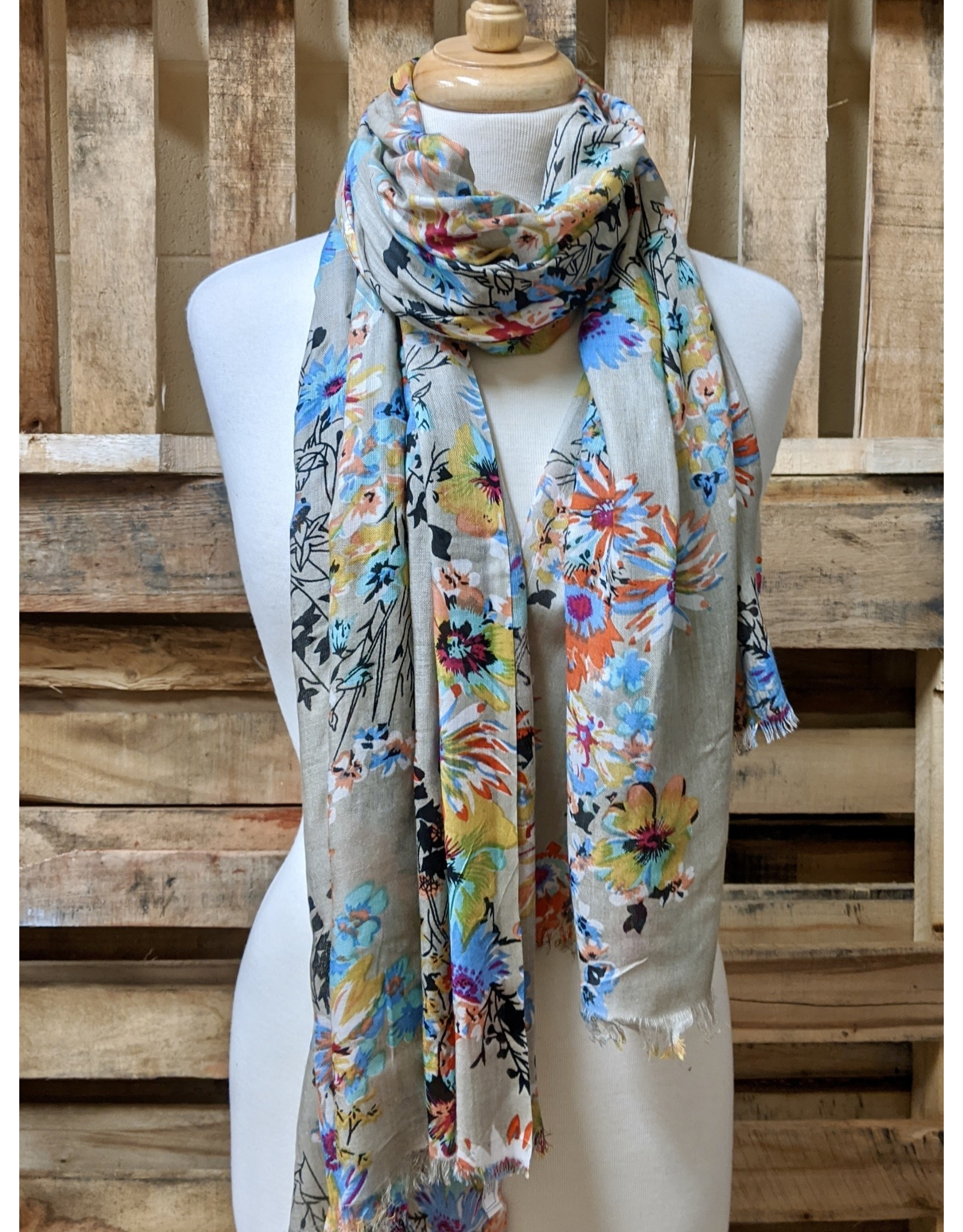 Ten Thousand Villages Bright floral print scarf, India