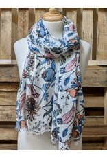 Ten Thousand Villages White Floral print scarf with birds