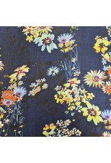 Ten Thousand Villages Navy scarf with floral design