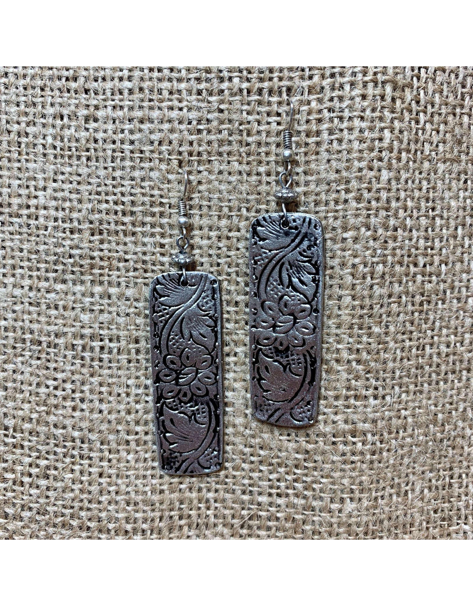 Ten Thousand Villages Stamped Iron Floral Earrings