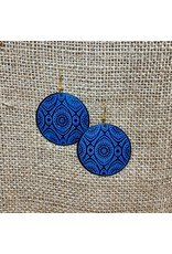 Ten Thousand Villages Blue Geometric Disk Earrings