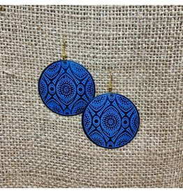 Ten Thousand Villages Blue Geometric Disk Earrings, India