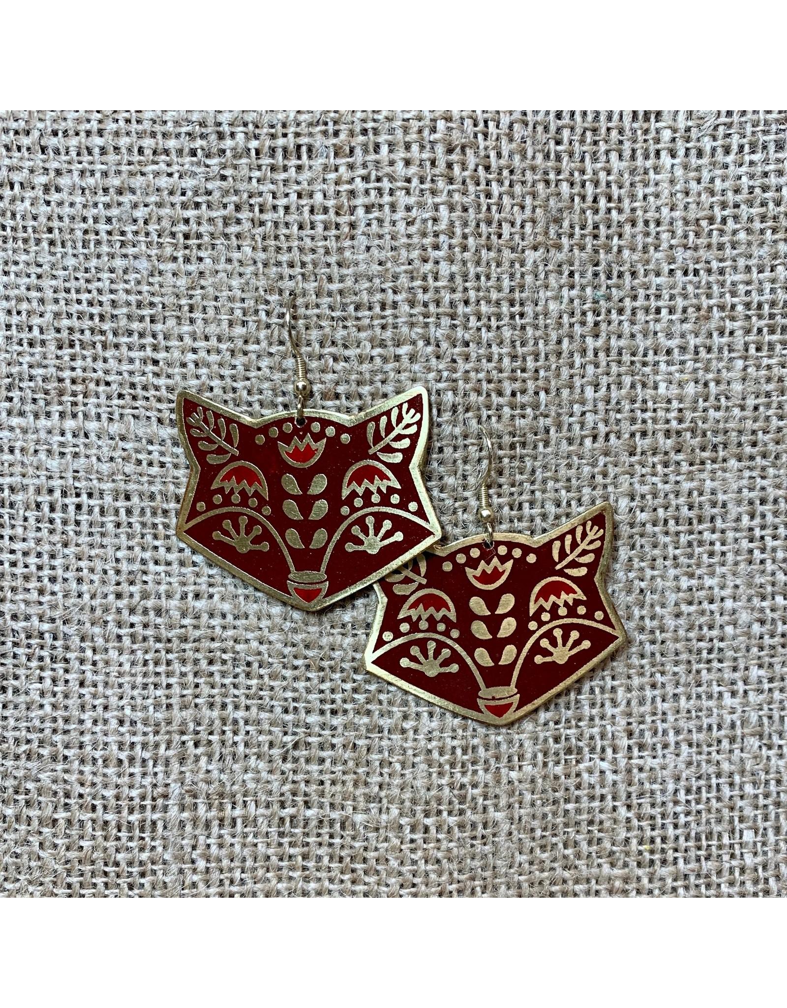 Earrings Fox Trot, Red, India