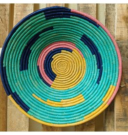 Ten Thousand Villages Teal Rafia Coiled Basket