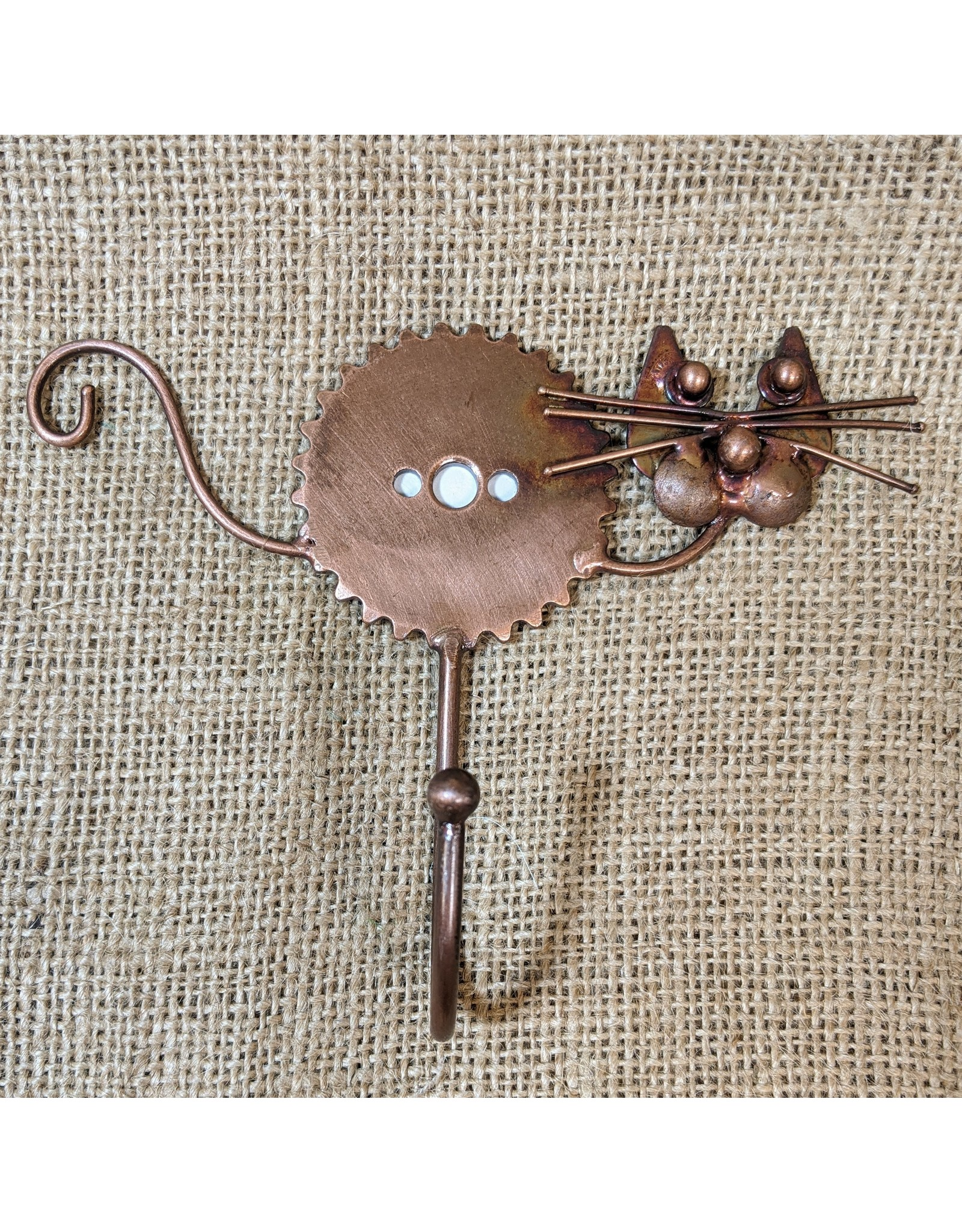 Ten Thousand Villages Hook Single Cat w/Whiskers Metal