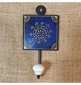 Ten Thousand Villages Blue Medallion Wall Hook