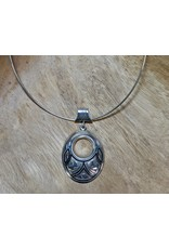 Ten Thousand Villages Silver Collar Oval Pendant Necklace