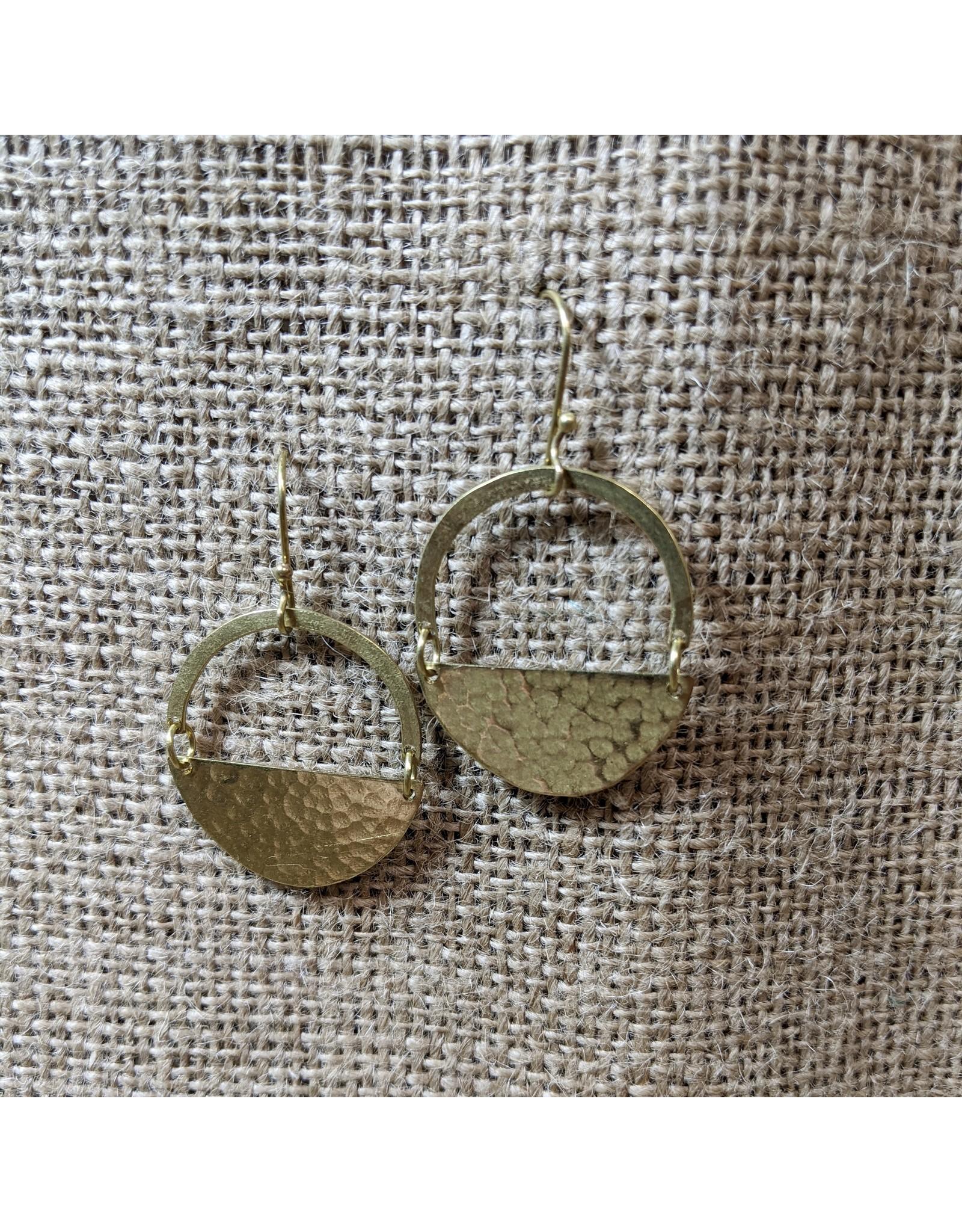 Ten Thousand Villages Half Moon Brass Earrings, India