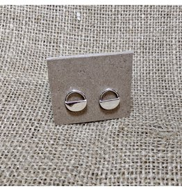 Ten Thousand Villages Half-moon Stud Earrings, Brass, India