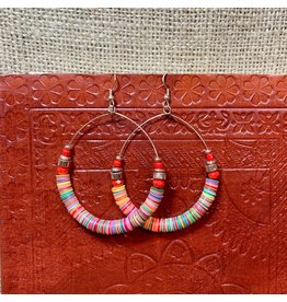 Ten Thousand Villages Earring Hoop Multicolour Sequins/Red Beads