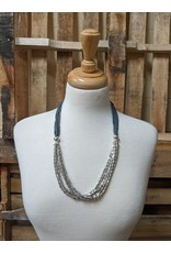 Ten Thousand Villages CLEARANCE  Grey Glass Beaded Necklace, India