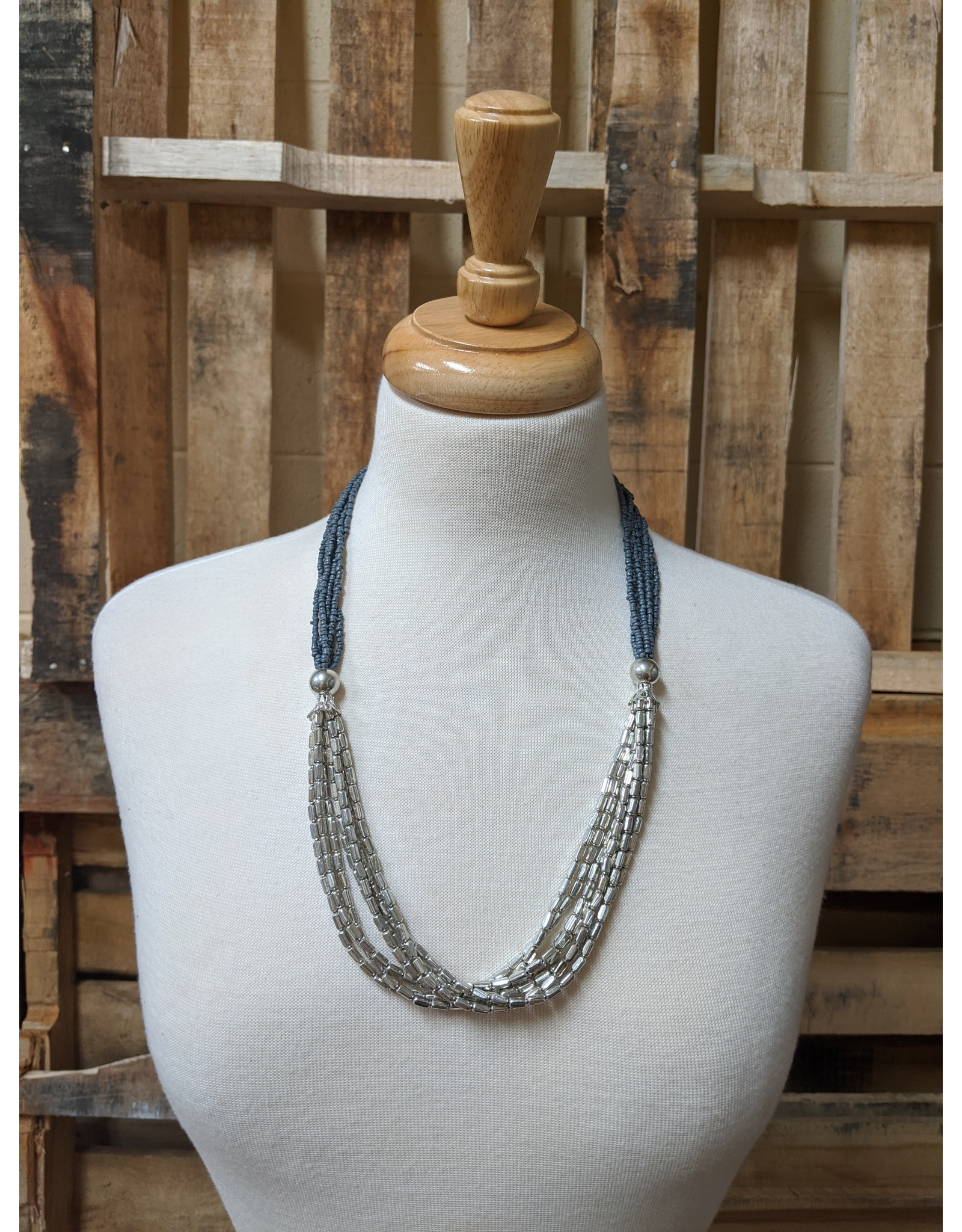Ten Thousand Villages Grey Glass Beaded Necklace