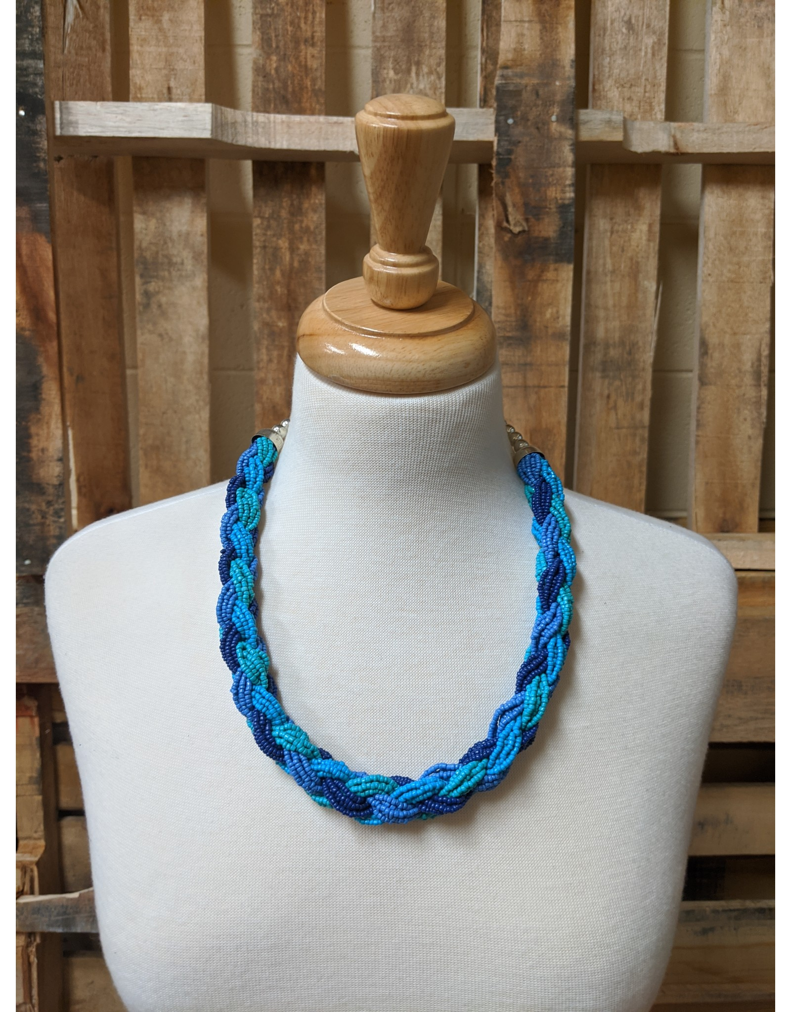 Ten Thousand Villages Blue Seed Bead Necklace