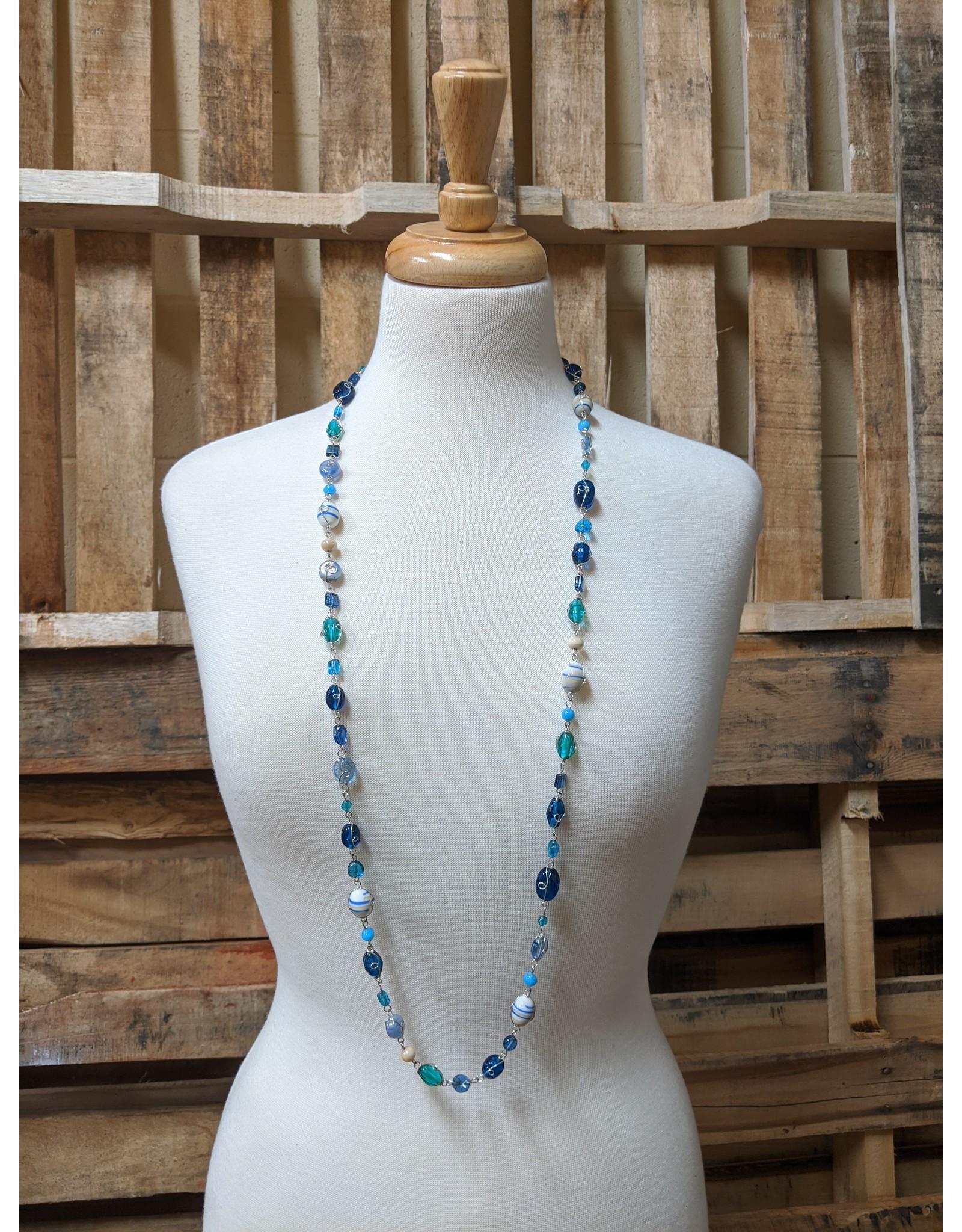 Ten Thousand Villages Ocean Blue Beaded Necklace